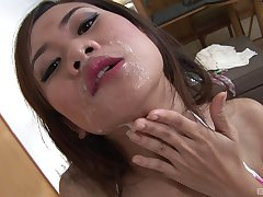 Sexy Threshold feeds her unshaved pussy wide a friend's long pecker