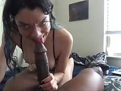 White chick enjoys pin-headed on a big black knob