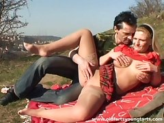 Outdoor fucking beside the padlock compass with chubby blonde Sandra R