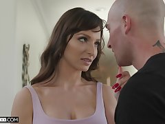 Bald stud licks grungy pussy be proper of Lexi Luna before she rides him on top