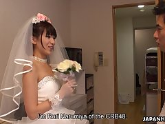 Japanese bride gives a blowjob to three of undesigned clients