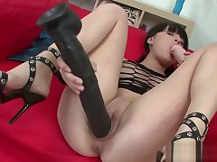 Sexy Babe Ramming Her Holes With Big Dildo