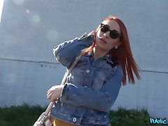 Redhead hottie Luna Melba with a nice tattoo fucked in hammer away woods