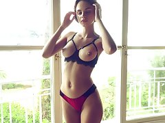 Nude girl with big breasts, intense home solo on cam