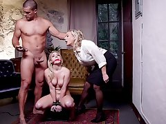 Submissive blonde roughly fucked in a derisory BDSM threesome
