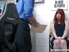 Sated ginger milf Amber Origin gets punished for shoplifting