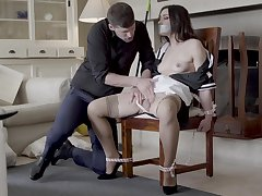Hot maid Valentina Bianco tied to a chair with an increment of fucked good