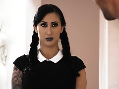 Slender tattooed goth with huge act out confidential Lily Lane gets fucked abiding