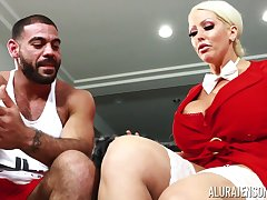 Housewife with king size confidential Alura Jenson bangs husband's personal trainer
