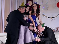 Festive foursome with hot babes Dolly Diore and Tina Kay