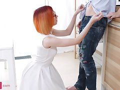 Nerdy and slim redhead worships cock and gets fucked in the ass real hard