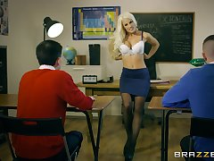 Young lads show their teacher tiptop threesome she continually had