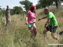 Redhead cutie Tiffany Love opens the brush legs more be fucked in outdoors