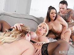 Astounding group fuck with Alix Lovell, Alura Jenson with the addition of Kiki Dare