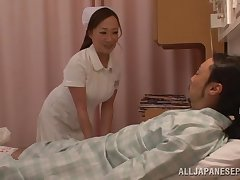 Cute Japanese nurse takes off her clothes to ride a random guy