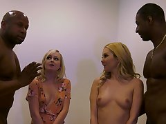 Wonderful foursome nude porn for two blondes with two BBCs