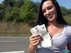 Staggering girl Katie Dee takes money to get fucked in outdoors