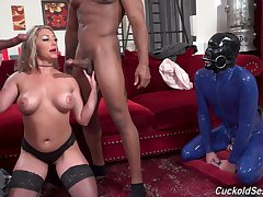 Controversial wife Mazee moans while having sex with two black dudes