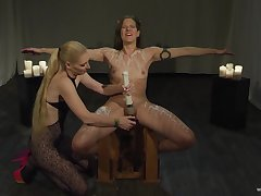 Rough orgasms for these ripsnorting babes in their garden-variety femdom lezzie show