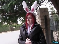Hot Easter bunny dame fucked outside