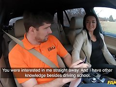Amateur czech student driver doll banged atop backseat