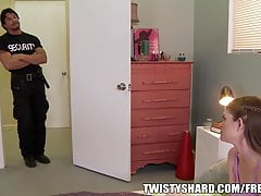 Shy and innocent teen is dared to fuck the dorm security