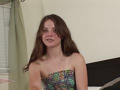 Young and Nervous Teen Seah Auditions with her Hairy Pussy