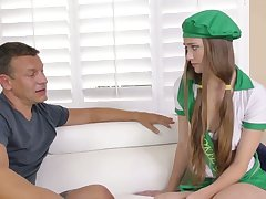 Lovely fresh svelte cookie gal Samantha Hayes gonna ride firm cock