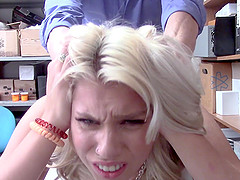 Blonde teen Chanel Grey fucked roughly doggy style in the office