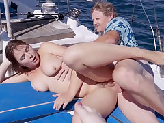 Captain Penis screwed three very hot 18yo schoolgirls on his sailing-boat