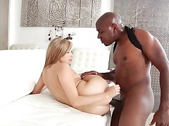 Wet teen pussy stretched up publicly by a big black cock