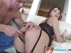 Redhead anal widened with double fucking while he screams