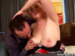 Granny with obese tits and hairy pussy rides cock