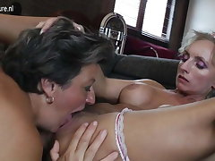 Age-old and young lesbian group sex