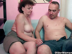 Chubby grandma enjoys his cock in her indiscretion and pussy