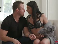 Hypnotizing hottie Gina Valentina is fucked and jizzed by one horny suppliant