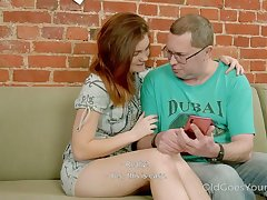 Filthy red haired stepdaughter seduces their way step daddy and fucks his on a day-bed