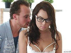 Nerdy girlfriends round glasses Madlen is having sex with her BF on the first date