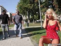 Absolute whore with big boobs Sienna Day is fucked by two huge sooty strangers