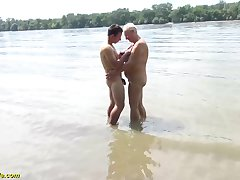 chubby beamy titty mom gets wild outdoor littoral fucked by her young strong cock toyboy