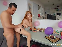 Birthday fucking in a lusty redheaded hottie