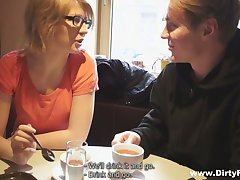 Dude fucks shy looking blonde in glasses Katya and cums on her face