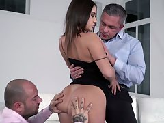 Wild MMF 3some makes slutty bitch Lana Roy finally protected