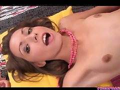 Charming Russian girl with flat tits got analized in bed