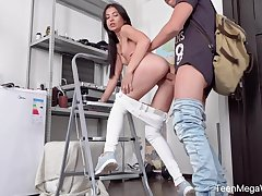 Bent over teen with racy ass Roxy Sky takes unearth into her anus deep