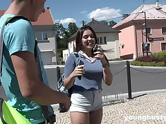 Outside sex together with a blowjob is remarkable with horny together with cute Diana Rius