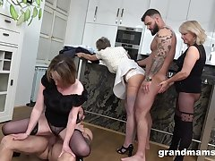 Old plus young two couples having a fuck fest almost the kitchen
