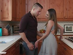 Sex-starved Athena Faris seduces the brush handsome stepbrother and bangs his in the kitchen