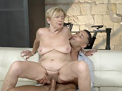 Old lady feels great with a massive young cock inside her pussy
