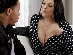 Black stepson can't resist making out impressive big white boobs of Angela White